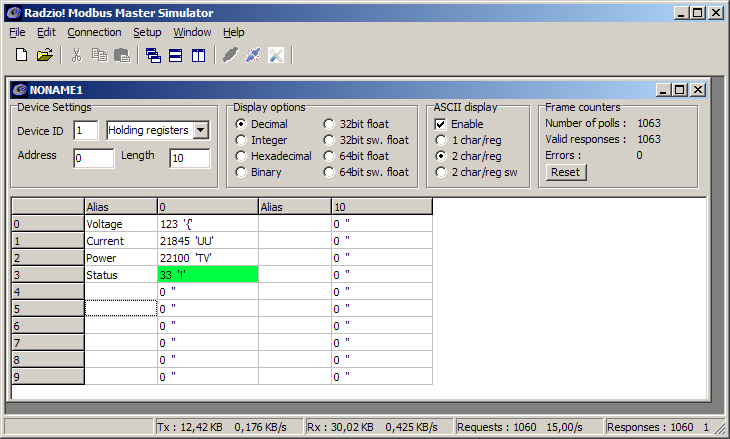Modbus Master Simulator - free software utility for testing